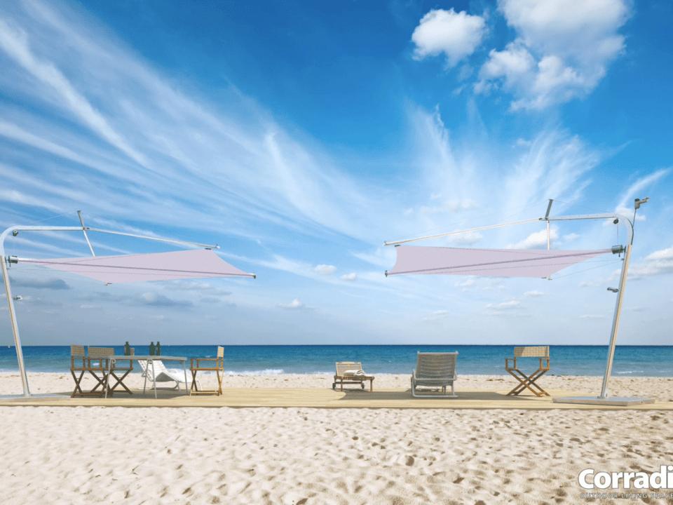 Esempio di vela ombreggiante per esterni: si può richiedere anche su misura